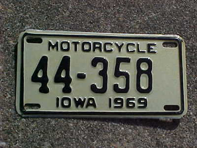 1969 Iowa Motorcycle license plate. # 44-358. Henry County. NOS.