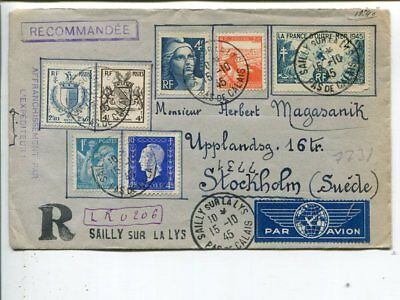 France reg air mail cover to Sweden 1945