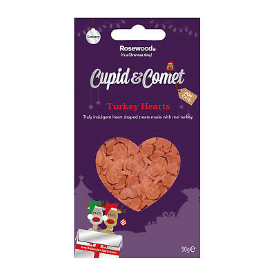 Cupid & Comet Luxury Christmas Turkey Hearts For Cats 50g Xmas Treats