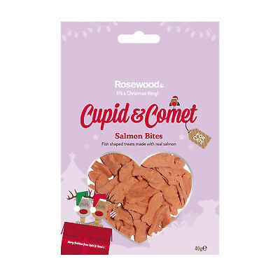 Cupid & Comet Christmas Salmon Bites For Cats 40g Xmas Festive Treats
