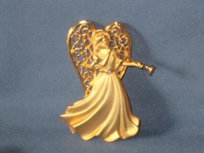 Vintage Signed JJ JONETTE JEWELRY Gold-Tone Metal AB Rhinestone Angel Pin Brooch