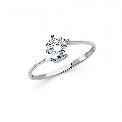 14k White Gold Fancy Vintage Cubic Zirconia Engagement Ring Resizable - Size 7*