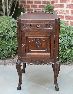 Antique French Dark Oak Louis XV Side Cabinet Nightstand Table with Drawer