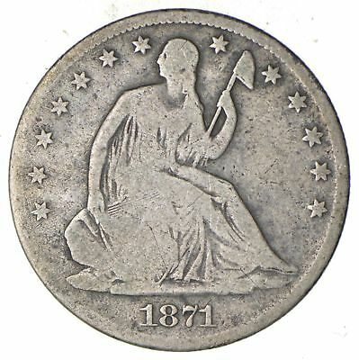 Early - 1871 Seated Liberty Half Dollar - Rare Type US Coin Silver 90% *707