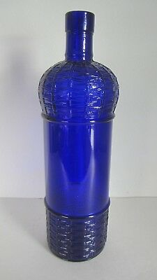 1990 Cobalt Blue Glass Bottle Embossed Fruit Basket Made In Canada Mint Cond