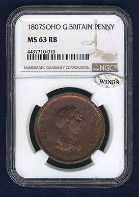 England George Iii 1807-Soho Penny Coin, Uncirculated, Certified Ngc Ms63-Rb