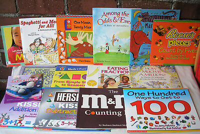 Kids Beginning Math Picture Early Reader Books Lot 16 Arithmetic Classroom Set