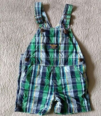 GUC OshKosh Baby Overall Shorts 18 Months Cotton Toddler Plaid Gingham Summer