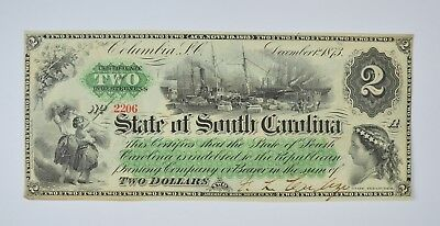 1873 $2.00 EARLY State of South Carolina Bank Note - Crisp *816