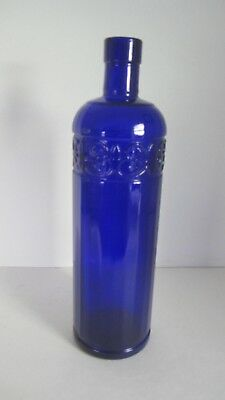 1990 Cobalt Blue Glass Bottle Embossed Flower? Pattern Made In Canada Mint Cond