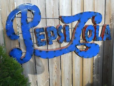 Pepsi Cola Sign Large 48 by 19 Pepsi Metal Sign Soda Fountain Sign Dry Goods