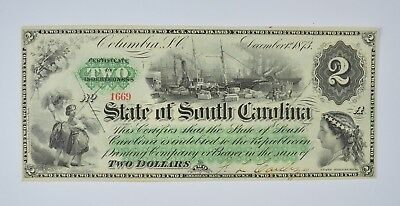 1873 $2.00 EARLY State of South Carolina Bank Note - Crisp *815