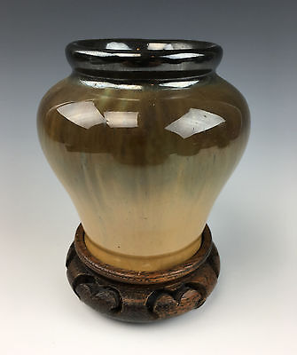 RAFCO by FULPER POTTERY Mirrored Black/Yellow Flambe Vase with Carved Wood Stand