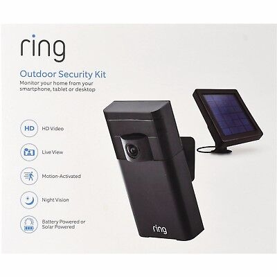 New Ring Outdoor Security Kit (Stick Up Cam w Solar Power Panel)