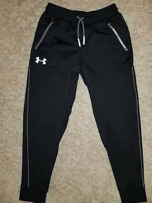 EUC BOYS Youth UNDER ARMOUR Athletic BLACK SWEAT PANTS SMALL YSM JP CH