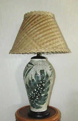"HAWAIIAN CERAMIC LAMP WITH MONSTERA LEAVES Lauhala Shade 23"" Tall"
