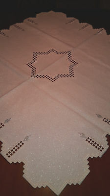 """HARDANGER NEW BEAUTIFUL HANDCRAFTED tabel  cent/ cloth glitzy Silver 34"""" x 34 """""""