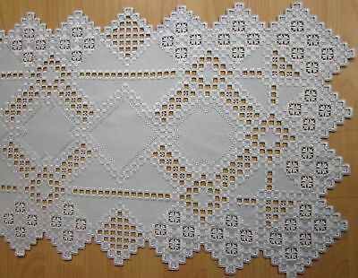 """HARDANGER NEW BEAUTIFUL  HANDCRAFTED tabel runner silver/gray 35"""" x 15"""""""