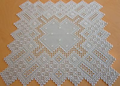 """HARDANGER NEW BEAUTIFUL HANDCRAFTED  center psc/ tabel cloth gray 24""""x24"""""""