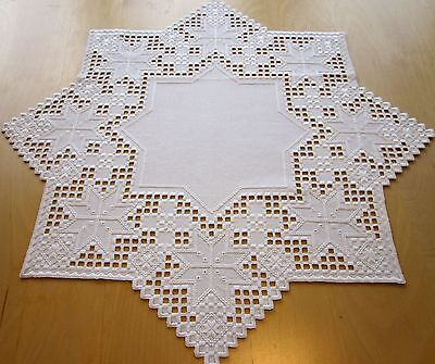 """HARDANGER NEW BEAUTIFUL HANDCRAFTED tabel center psc/ star white 32""""x32"""""""