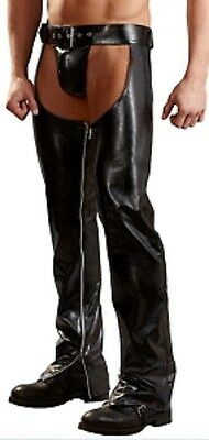 Leather Look Men's Crotchless Chaps Zipper Legs Thong Included Gay