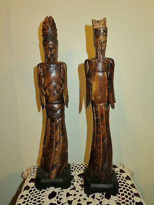 Antique Vintage Carved Chinese Figurines - Emperor - Empress estate sale