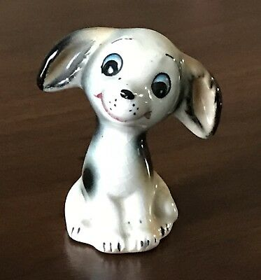 Vintage Ceramic Porcelain Happy Pup with Floppy Ears Spotted Miniature Figurine