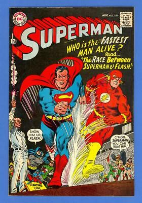 Superman #199 – Dc Comics (1967) – 1St Superman Vs. Flash Race – Higher Grade!