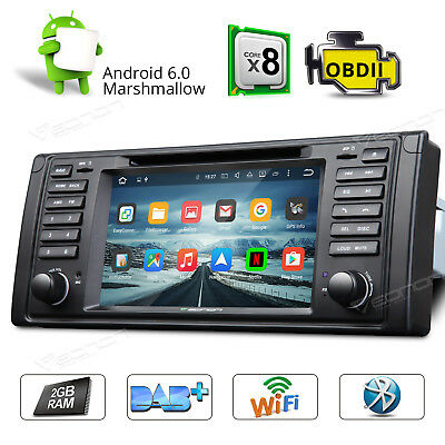 """7""""HD Android 6.0 Octa-Core Car Stereo Bluetooth DVD GPS for BMW E39 A WiFi MP3"""