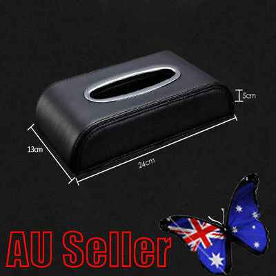 PU Black leather Car Tissue Napkin Box Cover Papers Holder Home Office Bar ON