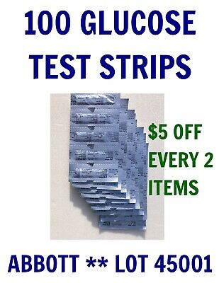 100 Abbott Blood GLUCOSE Test Strips for PRECISION XTRA &+Meters exp JULY 2019