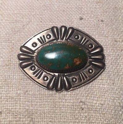 Vintage Navajo Native American Sterling Silver Turquoise Pin Signed RA
