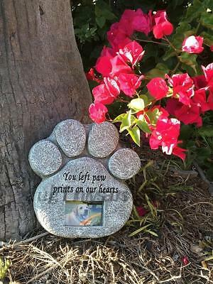 Dog Pet Paw Print Photo Frame Memorial Grave Marker Stone Tombstone Headstone