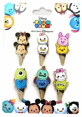 2016 Disney HKDL Tsum Tsum Ice Cream Cone Booster set of 6 Pins Only R5