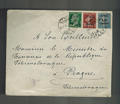 1924 halep Syria Cover to Prague Czehcoslovakia Overprints