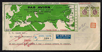 1936 Hong Kong First Flight Cover FFC to Penang via Imperial Airways with Map