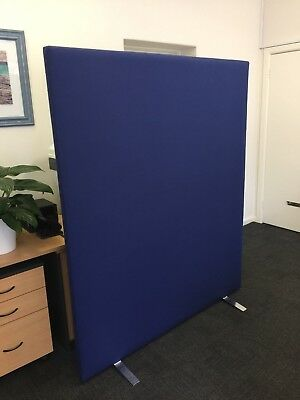 3 x Blue Padded Office Partitions