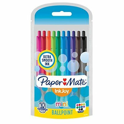 Paper Mate InkJoy Mini Retractable Ballpoint Pens Medium Point Assorted 10 Pa...
