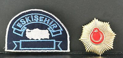 Obsolete Turkey National Police Badge & Eskisehir Province Police Patch