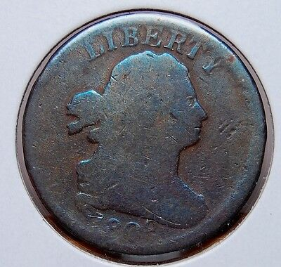 1808 Draped Bust Half Cent Normal Date About Good / Good