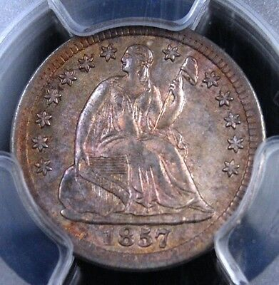 1857 Seated Half Dime Pcgs Ms62 Glorious Original Tone