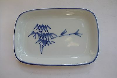 Asian Oriental Tray Dish Blue White Ceramic Porcelain Decor Display Bamboo