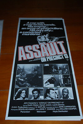 ASSAULT ON PRECINCT 13  original Australian movie poster daybill- JOHN CARPENTER