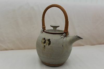 Vintage Handmade Stoneware Pottery Teapot with Cane Handle