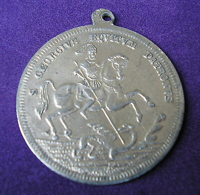 St George Slaying The Dragon Antique Medal
