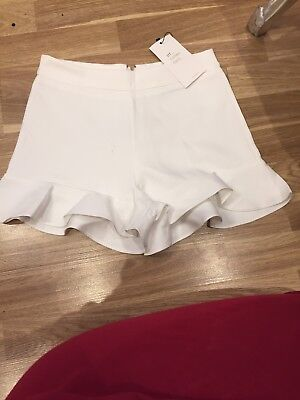 Zara Sold Out Bloggers Favourite White Cream Frill Shorts Size XS 6/small 8