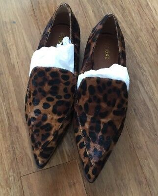 Next Animal Print Leopard Pony Hair Leather Pointed Loafers Black Brown 3 35.5