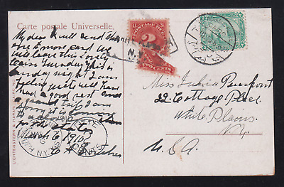 Egypt  1910 Under Rate Postcard From Semiramis Hotel To New York Taxed Usa Due