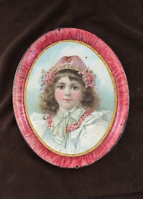 Circa 1900 Serving Tray-Girl with Red Hat!!