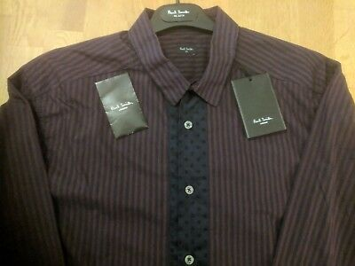 Paul Smith shirt, dark blue and purple stripes and spots LARGE NEW WITH TAGS